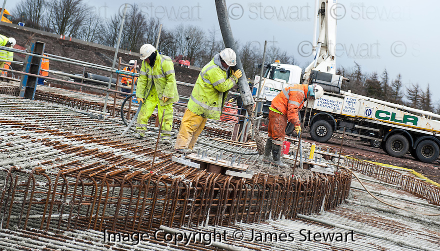 The pouring of the concrete for the foundations of the Kelpies gets underway..