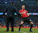 Nemanja Matic of Manchester United celebrates the win during the premier league match at the Etihad Stadium, Manchester. Picture date 7th April 2018. Picture credit should read: Simon Bellis/Sportimage