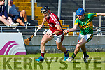 Gerard Stackpoole of Lixnaw puts in the tackle for possession against Bryan Murphy of Causeway in R2 of the Senior Hurling Championship in Austin Stack Park on Sunday.