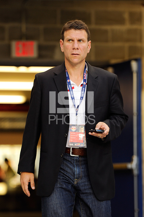 New York Red Bulls director of scouting and player recruitment Jeff Agoos. The New York Red Bulls defeated the San Jose Earthquakes 2-0 during a Major League Soccer (MLS) match at Red Bull Arena in Harrison, NJ, on August 28, 2010.