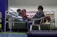 Displaced people in a center set in the village of Amatrice, central Italy, hit by a magnitude 6 earthquake at 3,36 am, 24 August 2016.<br /> Sfollati in un centro di accoglienza allestito dopo il terremoto che alle 3,36 del mattino ha colpito Amatrice, 24 agosto 2016.<br /> UPDATE IMAGES PRESS/Isabella Bonotto