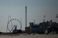 New Jersey, United States. 25th Feb, 2013 -- Debris of a park are seen after almost 4 months of the Sandy Storm disaster at the town of Seaside heights in New Jersey. Photo by Eduardo Munoz Alvarez / VIEWpress.