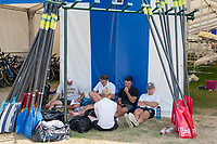 """Henley on Thames, United Kingdom, 4th July 2018, Thursday, View, Oarsmen/Atletes from Temple University, USA., relax and rest, by the Boat Tent,  second day of the annual,  """"Henley Royal Regatta"""", Henley Reach, River Thames, Thames Valley, England, © Peter SPURRIER,"""