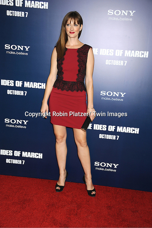 "Judy Greer attends the New York Premiere of ""The Ides of March"" .on October 5, 2011 at The Ziegfeld Theatre in New York City. The movie stars George Clooney, Marisa Tomei, Evan Rachel Wood, Paul Giamatti, Phillip Seymour Hoffman and Jeffrey Wright."