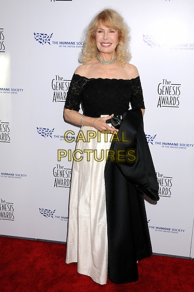 LORETTA SWIT.22nd Annual Genesis Awards at the Beverly Hilton Hotel, Beverly Hills, California, USA..March 29th, 2008.full length black white off the shoulder dress gown .CAP/ADM/BP.©Byron Purvis/AdMedia/Capital Pictures.