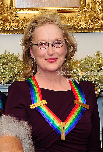 Meryl Streep, one of the recipients of the 2011 Kennedy Center Honors, poses for a photo following a dinner hosted by United States Secretary of State Hillary Rodham Clinton at the U.S. Department of State in Washington, D.C. on Saturday, December 3, 2011. The 2011 honorees are actress Meryl Streep, singer Neil Diamond, actress Barbara Cook, musician Yo-Yo Ma, and musician Sonny Rollins..Credit: Ron Sachs / CNP