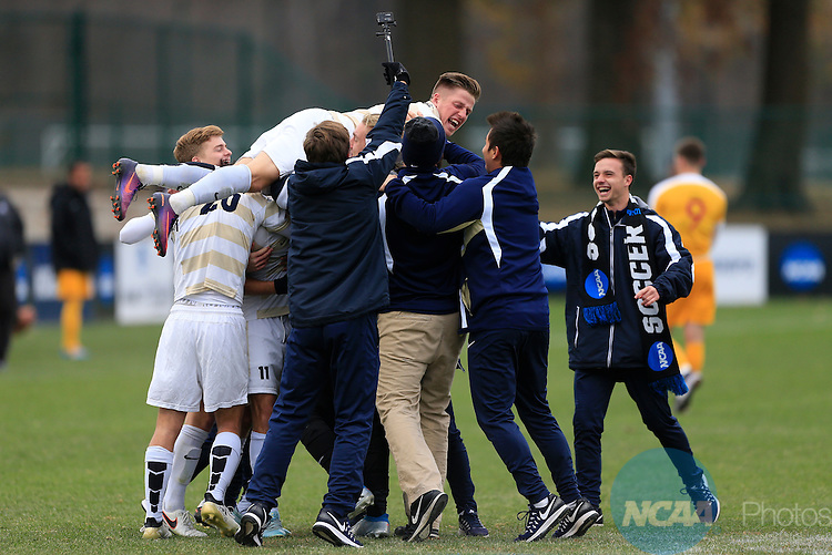 KANSAS CITY, MO - DECEMBER 03:  Wingate University celebrates their victory over the University of Charleston during the Division II Men's Soccer Championship held at Children's Mercy Victory Field at Swope Soccer Village on December 03, 2016 in Kansas City, Missouri. Wingate beat Charleston 2-0 to win the National Championship. (Photo by Jack Dempsey/NCAA Photos via Getty Images)
