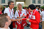 LONDON, ENGLAND 26/08/2012 - Henry Storgaard, CEO of the Canadian Paralympic Team, shakes hands with an athlete during a pep rally at Canada House at the London 2012 Paralympic Games. (Photo: Phillip MacCallum/Canadian Paralympic Committee)