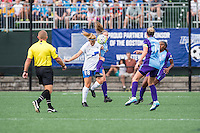 Allston, MA - Sunday July 31, 2016: Kathryn Schoepfer, Maddy Evans during a regular season National Women's Soccer League (NWSL) match between the Boston Breakers and the Orlando Pride at Jordan Field.
