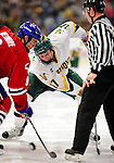 6 November 2009: University of Vermont Catamount forward Matt Marshall, a Sophomore from Hingham, MA, takes a second period faceoff against the University of Massachusetts River Hawks at Gutterson Fieldhouse in Burlington, Vermont. The Hockey East rivals battled to a 3-3 tie. Mandatory Credit: Ed Wolfstein Photo