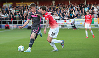 Leeds United's Jack Clarke holds off the challenge from Salford City's Danny Whitehead<br /> <br /> Photographer Alex Dodd/CameraSport<br /> <br /> The Carabao Cup First Round - Salford City v Leeds United - Tuesday 13th August 2019 - Moor Lane - Salford<br />  <br /> World Copyright © 2019 CameraSport. All rights reserved. 43 Linden Ave. Countesthorpe. Leicester. England. LE8 5PG - Tel: +44 (0) 116 277 4147 - admin@camerasport.com - www.camerasport.com