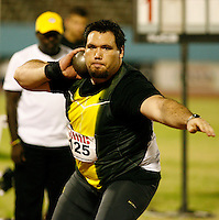 Dan Taylor finished 2nd. in the men shot put with a mark of 20.43m at the Jamaica International Invitational Meet on Saturday, May 3rd. 2008. Photo by Errol Anderson, The Sporting Image.