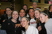 SAN ANTONIO, TX - APRIL 4:  Ashley Cimino, Lindy La Rocque, Grace Mashore, JJ Hones, Sarah Boothe, Rosalyn Gold-Onwude, Jayne Appel, Mikaela Ruef, and Hannah Donaghe at a rally before Stanford's 73-66 win over Oklahoma in the Final Four semi-finals at the Alamo Dome on April 4, 2010 in San Antonio, Texas.