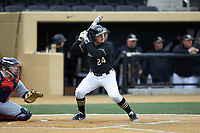 Chris Lanzilli (24) of the Wake Forest Demon Deacons at bat against the Illinois Fighting Illini at David F. Couch Ballpark on February 16, 2019 in  Winston-Salem, North Carolina.  The Fighting Illini defeated the Demon Deacons 5-2. (Brian Westerholt/Four Seam Images)