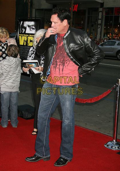"MICHAEL MADSEN .""Vice"" Los Angeles Premiere held at Grauman's Chinese Theatre, Hollywood, California, USA, 7 May 2008..full length black leather jacket jeans red t-shirt hand touching mouth.CAP/ADM/RE.©Russ Elliot/Admedia/Capital PIctures"