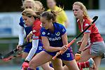 GER - Mannheim, Germany, April 22: During the German Hockey Bundesliga women match between Mannheimer HC (blue) and Club an der Alster (red) on April 22, 2017 at Am Neckarkanal in Mannheim, Germany. Final score 1-1 (HT 1-0).  Flor Habif #18 of Mannheimer HC, Anne Schroeder #19 of Club an der Alster<br /> <br /> Foto &copy; PIX-Sportfotos *** Foto ist honorarpflichtig! *** Auf Anfrage in hoeherer Qualitaet/Aufloesung. Belegexemplar erbeten. Veroeffentlichung ausschliesslich fuer journalistisch-publizistische Zwecke. For editorial use only.