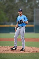 Tampa Bay Rays pitcher Easton McGee (34) during an Instructional League game against the Pittsburgh Pirates on October 3, 2017 at Pirate City in Bradenton, Florida.  (Mike Janes/Four Seam Images)