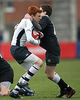 Action from the 2009  Medallion Shield final between Methody and Campbell College at Ravenhill. Mandatory Credit - John Dickson