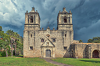 This is another view of Mission Concepción with stormy skies looming over the church in downtown San Antonio. The Mission Cencepcion wes built in the 1755 and has been wll preserved for over two hundred years and it one of the few mission that has not been rebuilt. This church is both historic and a SA landmark for tourist and locals. Mass is still given here every Sunday. The Battle of Concepcion was also fought here by James Bowie and James Fannin in 1835. atermark will not appear on image
