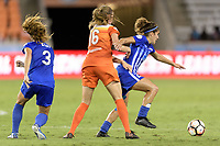 Houston, TX - Wednesday June 28, 2017: Angela Salem heads towards the Houston goal with the ball with Janine Beckie defending  during a regular season National Women's Soccer League (NWSL) match between the Houston Dash and the Boston Breakers at BBVA Compass Stadium.