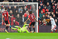 Xherdan Shaqiri of Stoke City right scores the first goal during AFC Bournemouth vs Stoke City, Premier League Football at the Vitality Stadium on 3rd February 2018