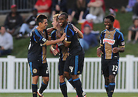 Philadelphia Union midfielder Brian Carroll (7) celebrates his score with teammates. The Philadelphia Union defeated D.C. United 2-1in extra time at the round of sixteen of the Lamar Hunt U.S. Open Cup at The Maryland SoccerPlex, Tuesday June 6, 2012.