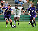 11 September 2009: University of Vermont Catamount forward D.J. Edler (17), a Freshman from Atlanta, GA, in action against the University of Portland Pilots, in the first round of the 2009 Morgan Stanley Smith Barney Soccer Classic held at Centennial Field in Burlington, Vermont. The Catamounts and Pilots battled to a 1-1 double-overtime tie. Mandatory Photo Credit: Ed Wolfstein Photo