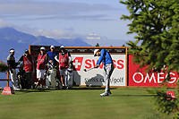 Lucas Bjerregaard (DEN) tees off the 2nd tee during Thursday's Round 1 of the 2017 Omega European Masters held at Golf Club Crans-Sur-Sierre, Crans Montana, Switzerland. 7th September 2017.<br /> Picture: Eoin Clarke | Golffile<br /> <br /> <br /> All photos usage must carry mandatory copyright credit (&copy; Golffile | Eoin Clarke)