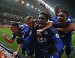 Daniel Amartey of Leicester City celebrates his goal, the equalising goal during the English Premier League match at the Bet 365 Stadium, Stoke on Trent. Picture date: December 17th, 2016. Pic Simon Bellis/Sportimage