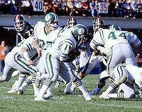 Ron Lancaster Saskatchewan Roughriders quarterback. handoff to Mike Strickland. Saskatchewan Roughriders vs Ottawa Rough Riders. Copyright photograph Scott Grant