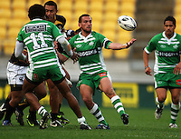Manawatu's Aaron Cruden juggles loose ball. Air NZ Cup - Wellington Lions v Manawatu Turbos at Westpac Stadium, Wellington, New Zealand. Saturday 3 October 2009. Photo: Dave Lintott / lintottphoto.co.nz