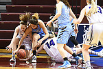GRAND RAPIDS, MI - MARCH 18: Amherst College and Tufts University players dive for a loose ball during the Division III Women's Basketball Championship held at Van Noord Arena on March 18, 2017 in Grand Rapids, Michigan. Amherst defeated 52-29 for the national title. (Photo by Brady Kenniston/NCAA Photos via Getty Images)