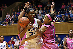 04 February 2016: Virginia's Mikayla Venson (1) knocks the ball away from Duke's Amber Henson (30). The Duke University Blue Devils hosted the University of Virginia Cavaliers at Cameron Indoor Stadium in Durham, North Carolina in a 2015-16 NCAA Division I Women's Basketball game. Both teams wore pink as part of the annual Play4Kay game in support of the Kay Yow Cancer Fund. Duke won the game 67-52.