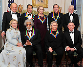 "Recipients of the 2011 Kennedy Center Honors pose for a photo following a dinner hosted by United States Secretary of State Hillary Rodham Clinton at the U.S. Department of State in Washington, D.C. on Saturday, December 3, 2011. The 2011 honorees are actress Meryl Streep, singer Neil Diamond, actress Barbara Cook, musician Yo-Yo Ma, and musician Sonny Rollins.  Back row, from left to right: George Stevens, Jr., creator of ""The Kennedy Center Honors""; Yo-Yo Ma; Meryl Streep; Neil Diamond; and David M. Rubenstein, Chairman, John F. Kennedy Center for the Performing Arts.  Front row, from left to right: Secretary Clinton; Sonny Rollins; Barbara Cook; and Michael M. Kaiser, President, John F. Kennedy Center for the Performing Arts..Credit: Ron Sachs / CNP"