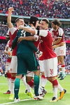 Petr Cech of Arsenal celebrates with Sead Kolasinac of Arsenal after the The FA Community Shield match at Wembley Stadium, London. Picture date 6th August 2017. Picture credit should read: Charlie Forgham-Bailey/Sportimage