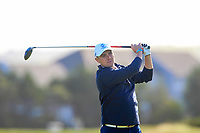 Stuart Easton from Scotland on the 12th tee after Round 1 Foursomes of the Men's Home Internationals 2018 at Conwy Golf Club, Conwy, Wales on Wednesday 12th September 2018.<br /> Picture: Thos Caffrey / Golffile<br /> <br /> All photo usage must carry mandatory copyright credit (&copy; Golffile | Thos Caffrey)