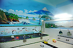 A Japanese woman takes a bath in a Sento, public bath, with the wall painted of Mount Fuji in Tokyo.