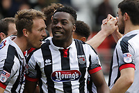 Grimsby Town's Akwasi Asante is mobbed after he scores during the Sky Bet League 2 match between Leyton Orient and Grimsby Town at the Matchroom Stadium, London, England on 11 March 2017. Photo by Carlton Myrie / PRiME Media Images.