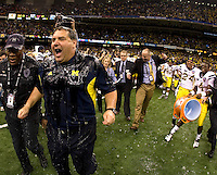 Michigan head coach Brady Hoke gets doused with gatorate by Michigan players after winning Sugar Bowl game against Virginia Tech at Mercedes-Benz SuperDome in New Orleans, Louisiana on January 3rd, 2012.   Michigan defeated Virginia Tech, 23-20 in first overtime.