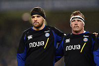 Charlie Ewels and Jacques van Rooyen of Bath Rugby. Heineken Champions Cup match, between Leinster Rugby and Bath Rugby on December 15, 2018 at the Aviva Stadium in Dublin, Republic of Ireland. Photo by: Patrick Khachfe / Onside Images