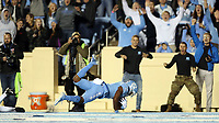 CHAPEL HILL, NC - NOVEMBER 02: Dyami Brown #2 of the University of North Carolina scores his third touchdown during a game between University of Virginia and University of North Carolina at Kenan Memorial Stadium on November 02, 2019 in Chapel Hill, North Carolina.