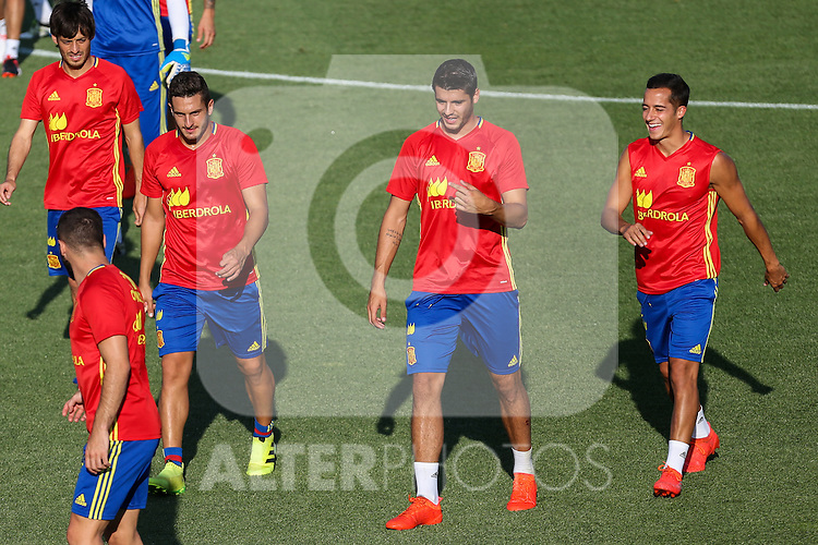 Spanish Lucas Vazquez, Alvaro Morata and Koke Resurrecccion during the first training of the concentration of Spanish football team at Ciudad del Futbol de Las Rozas before the qualifying for the Russia world cup in 2017 August 29, 2016. (ALTERPHOTOS/Rodrigo Jimenez)