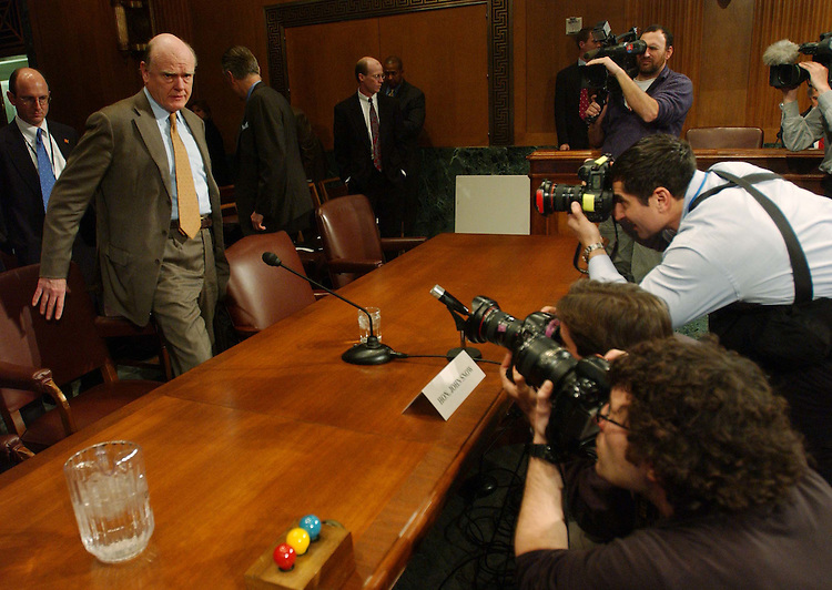 2/12/04.FISCAL 2005 BUDGET--Treasury Secretary John W. Snow takes his seat at the witness table to testify during the Senate Finance hearing on the administration's proposed fiscal 2005 budget..CONGRESSIONAL QUARTERLY PHOTO BY SCOTT J. FERRELL