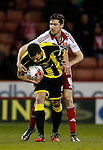 John Mousinho of Burton Albion tussles with Chris Basham of Sheffield Utd - English League One - Sheffield Utd vs Burton Albion - Bramall Lane Stadium - Sheffield - England - 1st March 2016 - Pic Simon Bellis/Sportimage