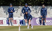 Issued by Cricket Scotland - Scotland players get in some practice ahead of tomorrow's (sat) Scotland V Sri Lanka 1st One Day International at Grange CC, Edinburgh - Aly Evan takes a great catch in fielding drills, watched by (l to r) Michael Jones, Mark Watt and Tom Sole - picture by Donald MacLeod - 17.05.19 - 07702 319 738 - clanmacleod@btinternet.com - www.donald-macleod.com