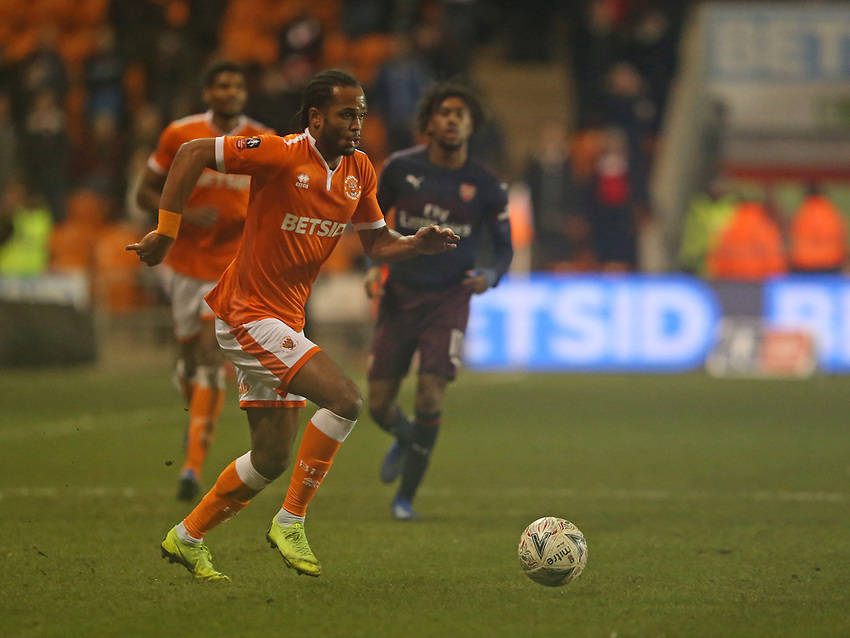 Blackpool's Nathan Delfouneso<br /> <br /> Photographer Stephen White/CameraSport<br /> <br /> Emirates FA Cup Third Round - Blackpool v Arsenal - Saturday 5th January 2019 - Bloomfield Road - Blackpool<br />  <br /> World Copyright © 2019 CameraSport. All rights reserved. 43 Linden Ave. Countesthorpe. Leicester. England. LE8 5PG - Tel: +44 (0) 116 277 4147 - admin@camerasport.com - www.camerasport.com