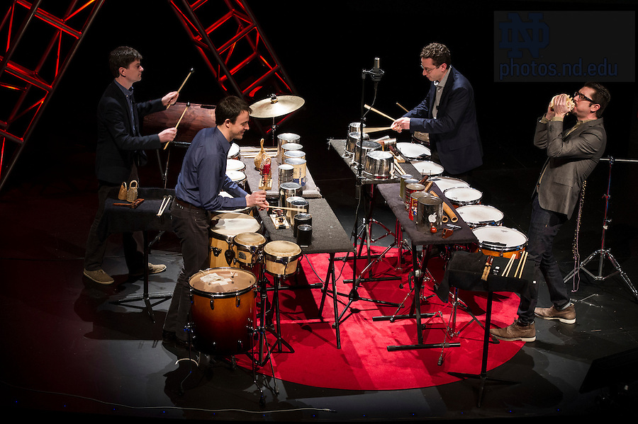 """Jan. 21, 2014; Ensemble, Third Coast Percussion deliver their talk titled, """"Never Compromise, Collaborate,"""" followed by a performance during the TEDxUND 2014 event in the Debartolo Performing Arts Center. Photo by Barbara Johnston/University Photographer"""