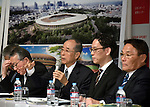 December 22, 2015, Tokyo, Japan - Members of the Japan Sports Councils panel specializing in architecture and landscape attend a news conference in Tokyo on Tuesday, December 22, 2015, announcing the winning design for the new National Stadium. The government picked the design by architect Kengo Kuma, putting an end to the longstanding brouhaha over the venue that is expected to be the centerpiece of the 2020 Tokyo Olympics.  (Photo by Natsuki Sakai/AFLO) AYF -mis-