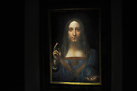 NEW YORK, NY - NOVEMBER 05: Painting by Leonardo da Vinci entitled 'Salvator Mundi' before it is auctioned in New York on November 15, at Christies. The painting is the last Da Vinci in private hands and is expected to fetch around 100,000,000 USD at Christies on November 5, 2017 in New York City<br />