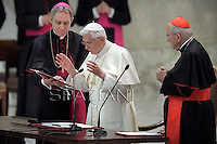 Pope Benedict XVI  Monsignor Georg Gaenswein Cardinal Agostino Vallini during an audience with Rome's parish priests in aula Paolo VI at the vatican. on February 14, 2013